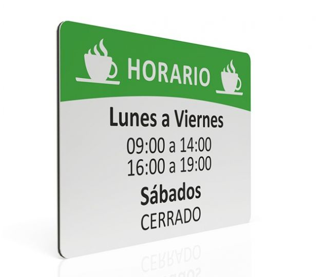 PLACA DE HORARIO PARA CAFETERIA
