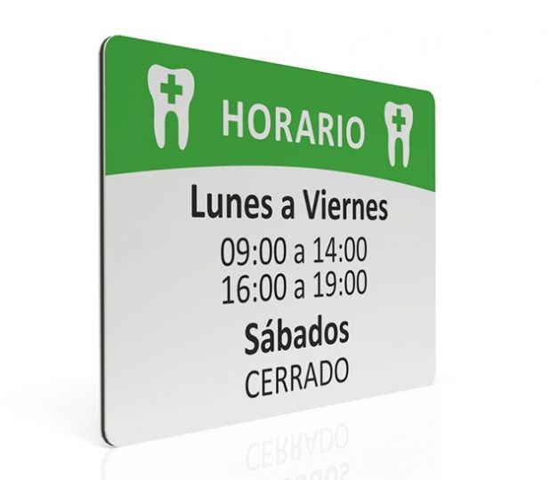 MAXIMPRESION PLACA DE HORARIO DENTISTA